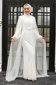 Ecru Hijab Evening Dress 5383E - Thumbnail