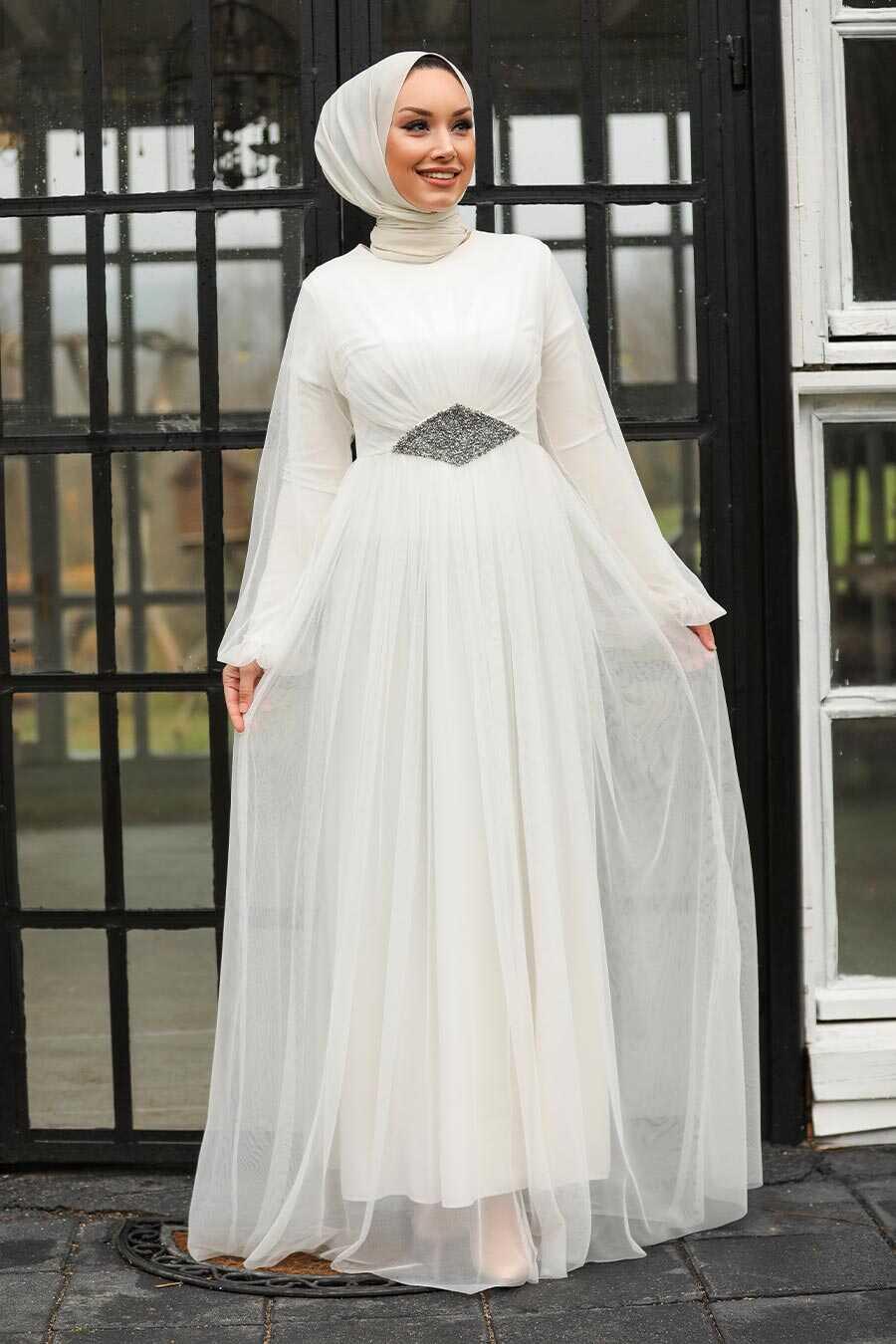 Ecru Hijab Evening Dress 54230E