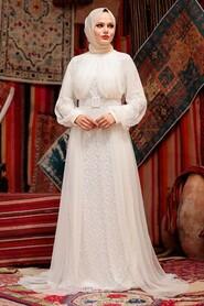 Ecru Hijab Evening Dress 5441E - Thumbnail