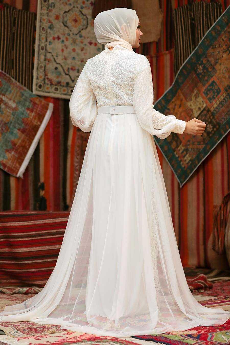 Ecru Hijab Evening Dress 5441E