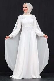 Ecru Hijab Evening Dress 9130E - Thumbnail