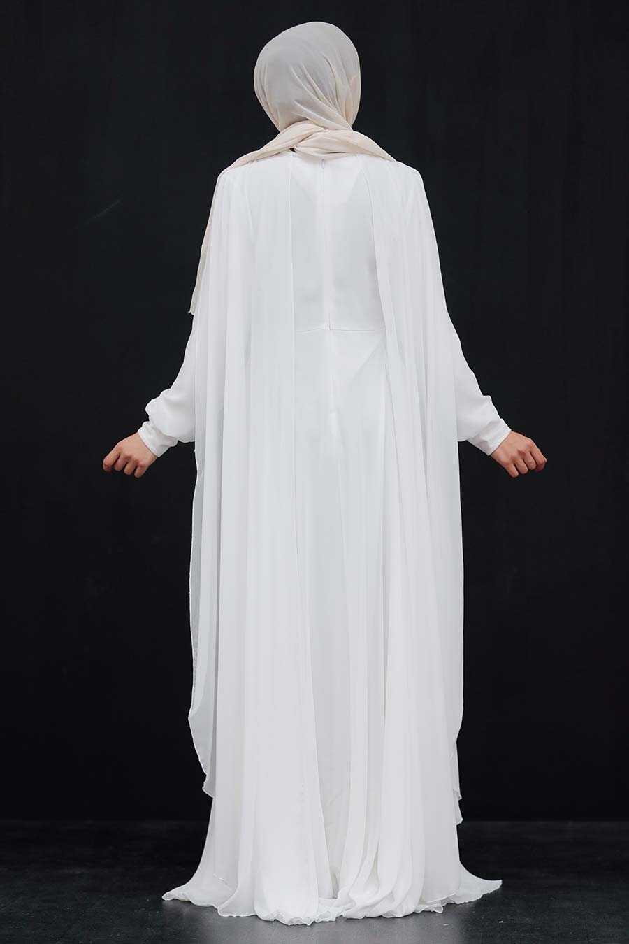 Ecru Hijab Evening Dress 9130E
