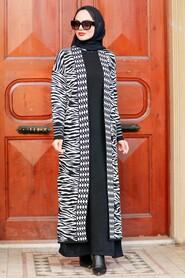 Ecru Hijab Knitwear Cardigan 3145E - Thumbnail