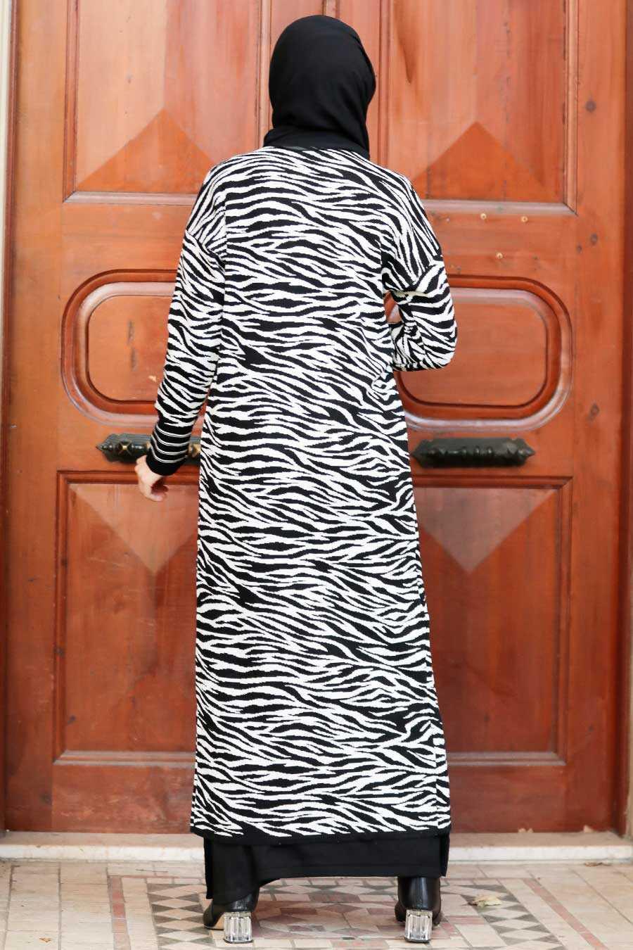 Ecru Hijab Knitwear Cardigan 3145E