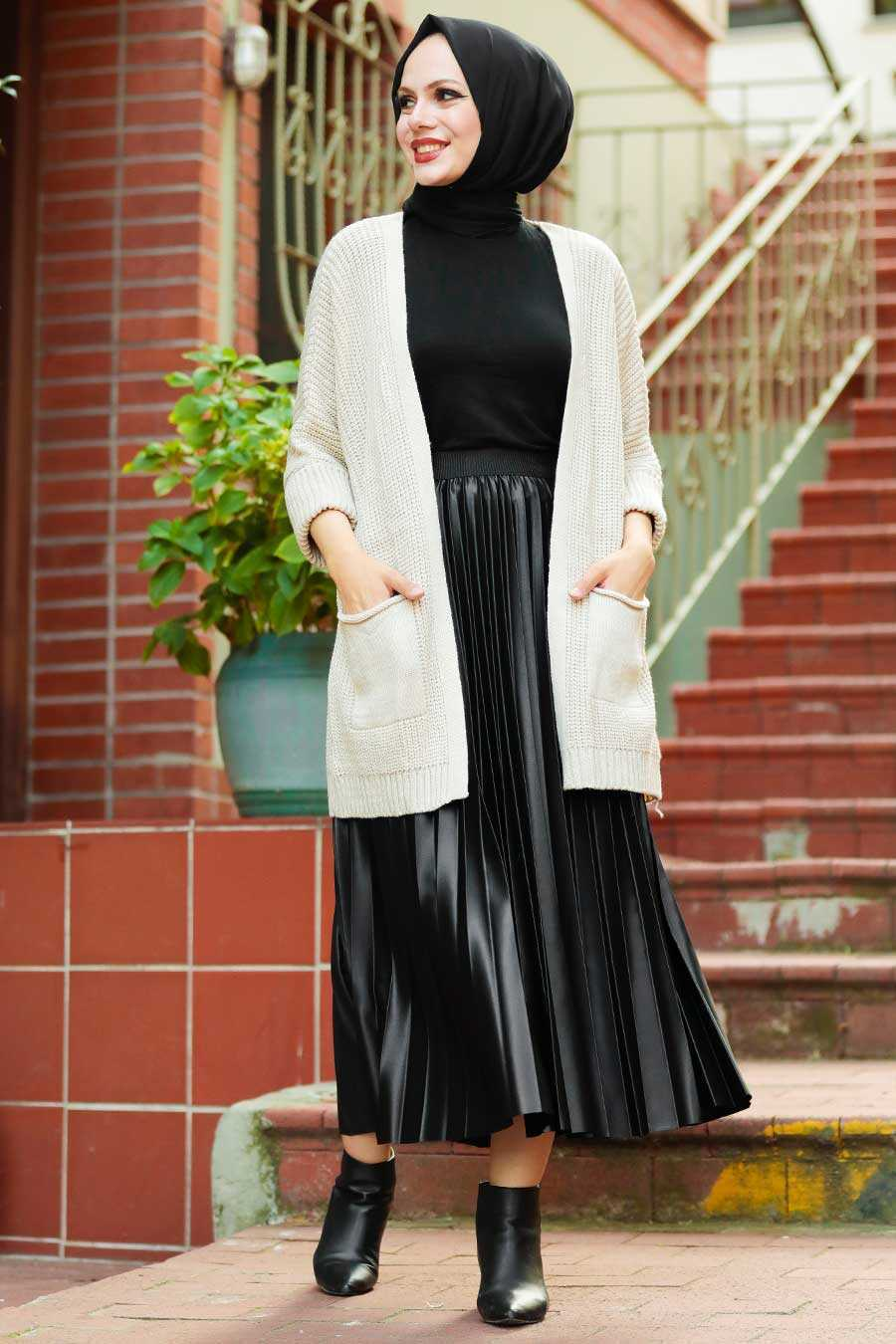 Ecru Hijab Knitwear Cardigan 7904E