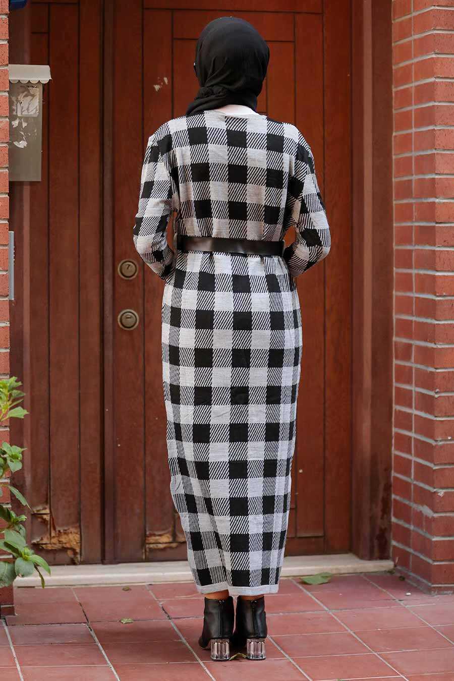 Ecru Hijab Knitwear Dress 3048E