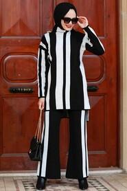 Ecru Hijab Knitwear Suit Dress 3153E - Thumbnail