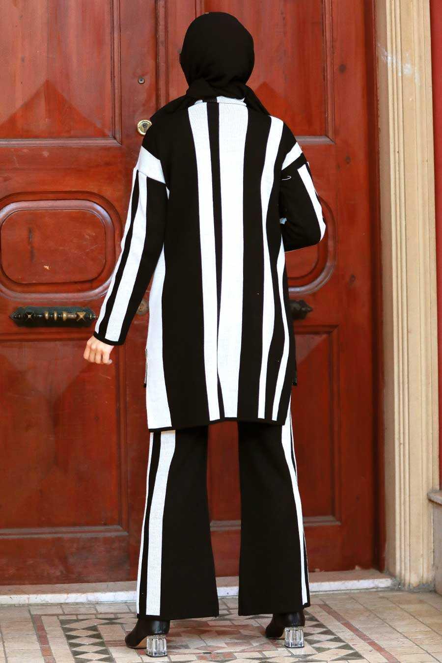 Ecru Hijab Knitwear Suit Dress 3153E