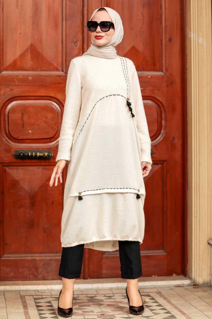 Ecru Hijab Knitwear Tunic 30641E