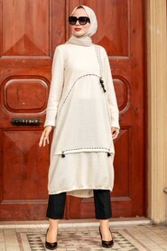 Ecru Hijab Knitwear Tunic 30641E - Thumbnail