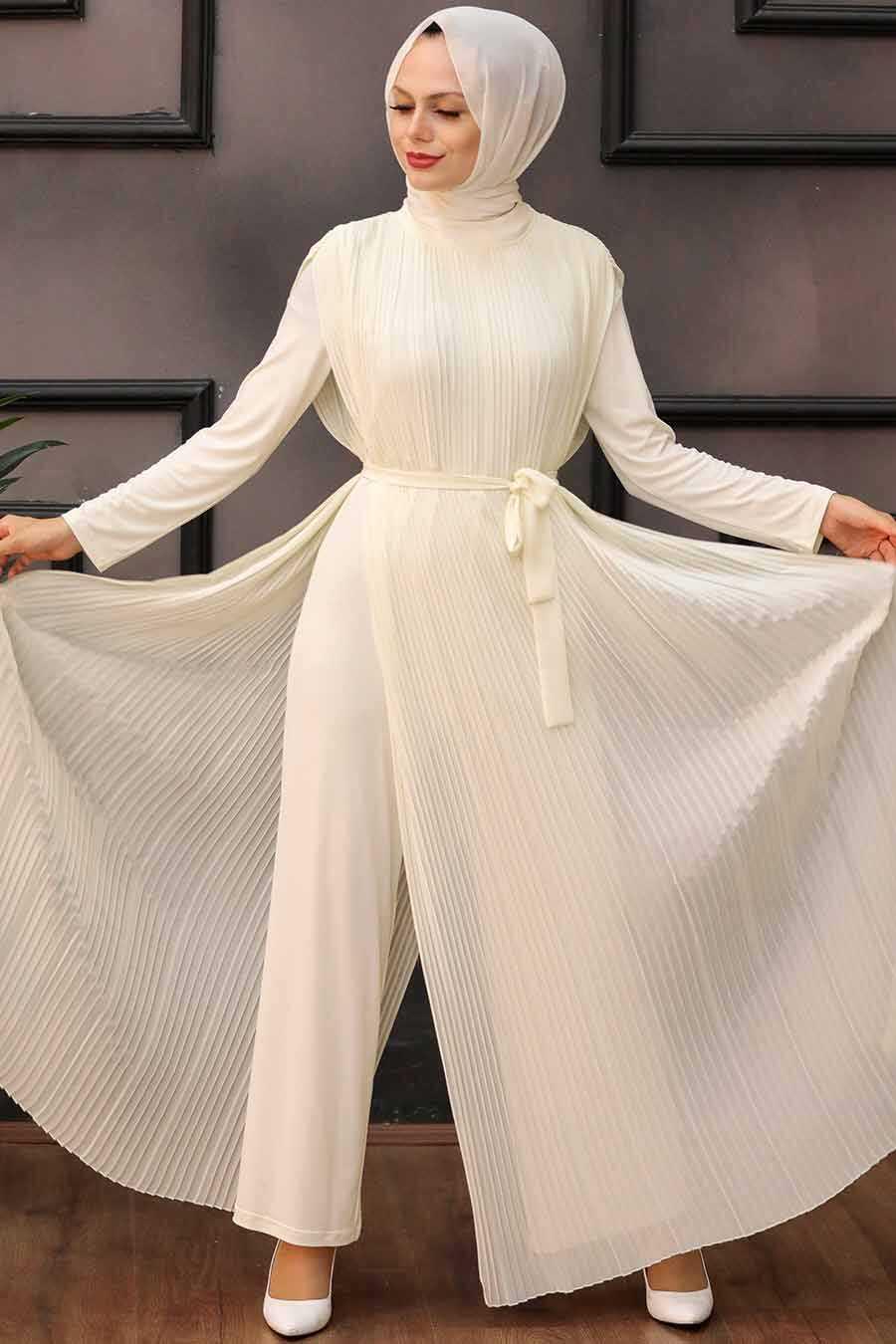 Ecru Hijab Overalls 30120E