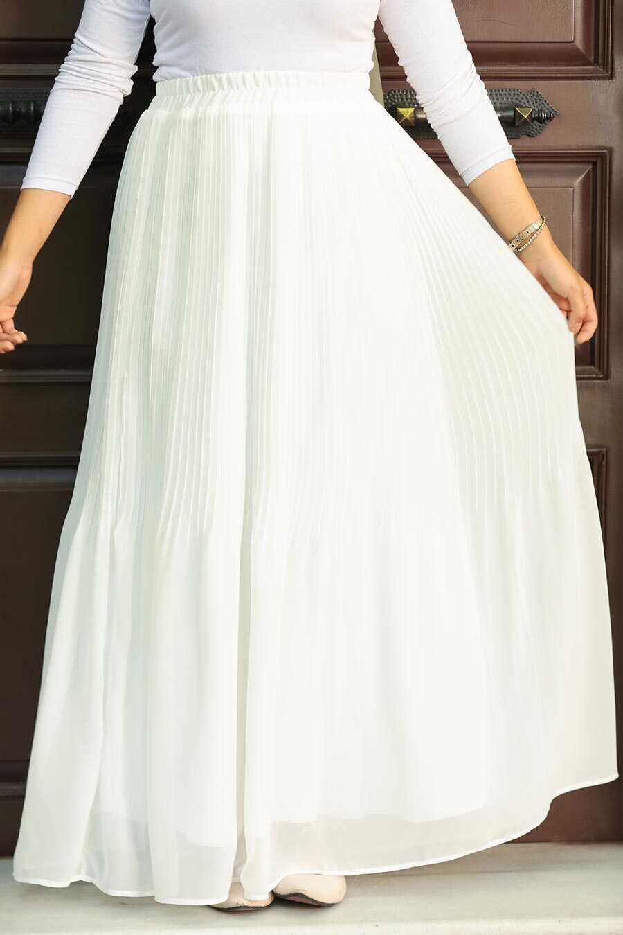 Ecru Hijab Skirt 32140E