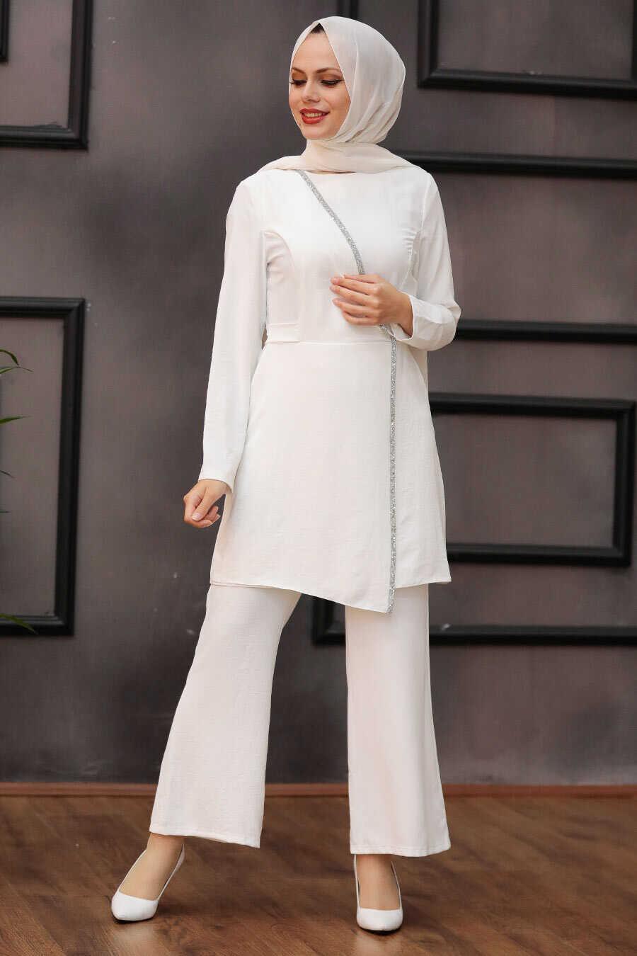 Ecru Hijab Suit Dress 3000E
