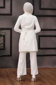 Ecru Hijab Suit Dress 3000E - Thumbnail