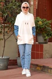 Ecru Hijab Sweatshirt 4154E - Thumbnail