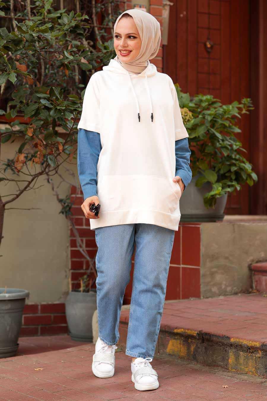 Ecru Hijab Sweatshirt 4154E