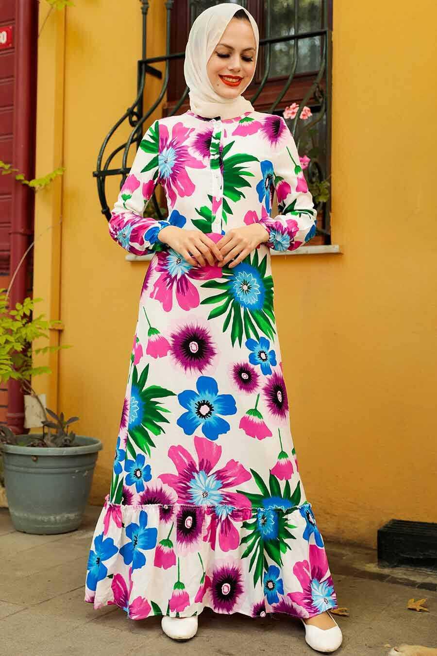 Fushia Hijab Dress 5196F