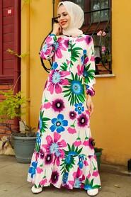 Fushia Hijab Dress 5196F - Thumbnail