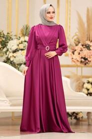 Fushia Hijab Evening Dress 31290F - Thumbnail