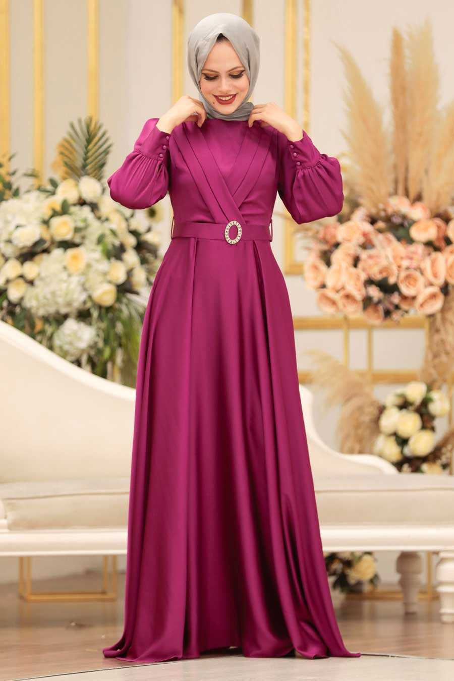 Fushia Hijab Evening Dress 31290F