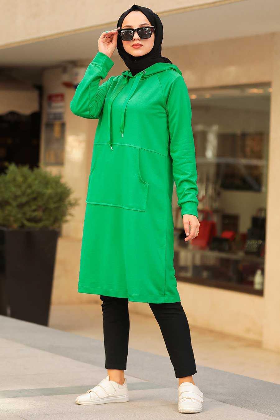 Green Hijab Sweatshirt & Tunic 16030Y