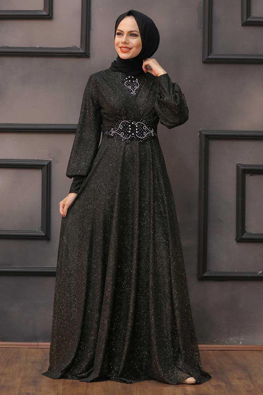 Gold Hijab Evening Dress 50151GOLD