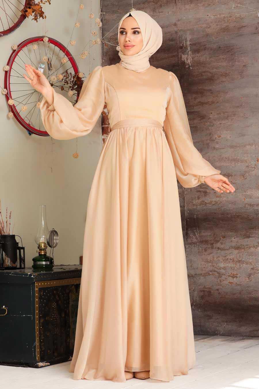 Gold Hijab Evening Dress 5215GOLD