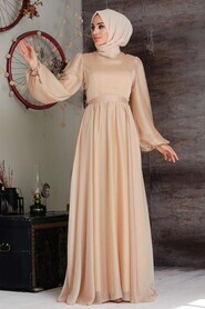 Gold Hijab Evening Dress 5215GOLD - Thumbnail