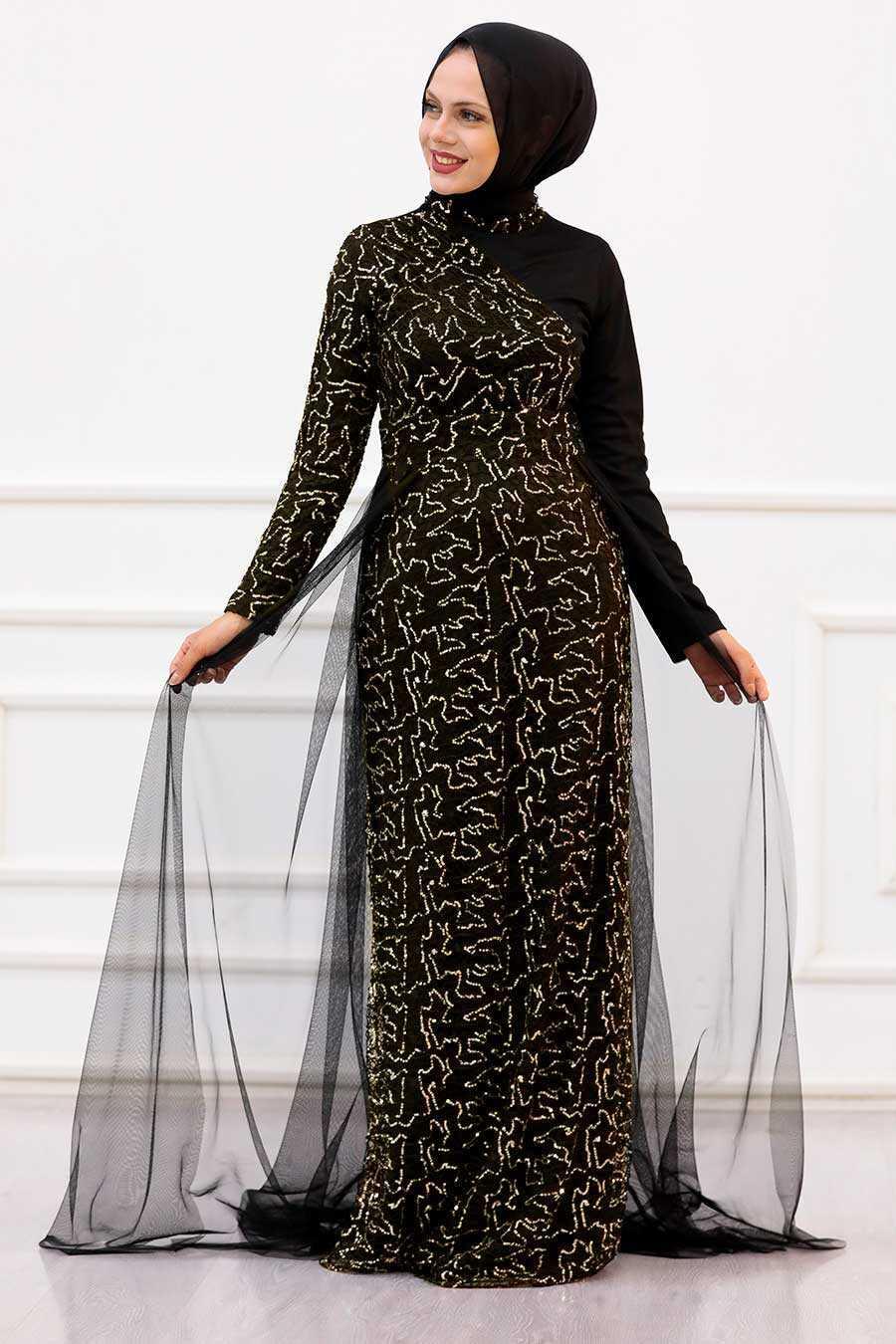Gold Hijab Evening Dress 5345GOLD