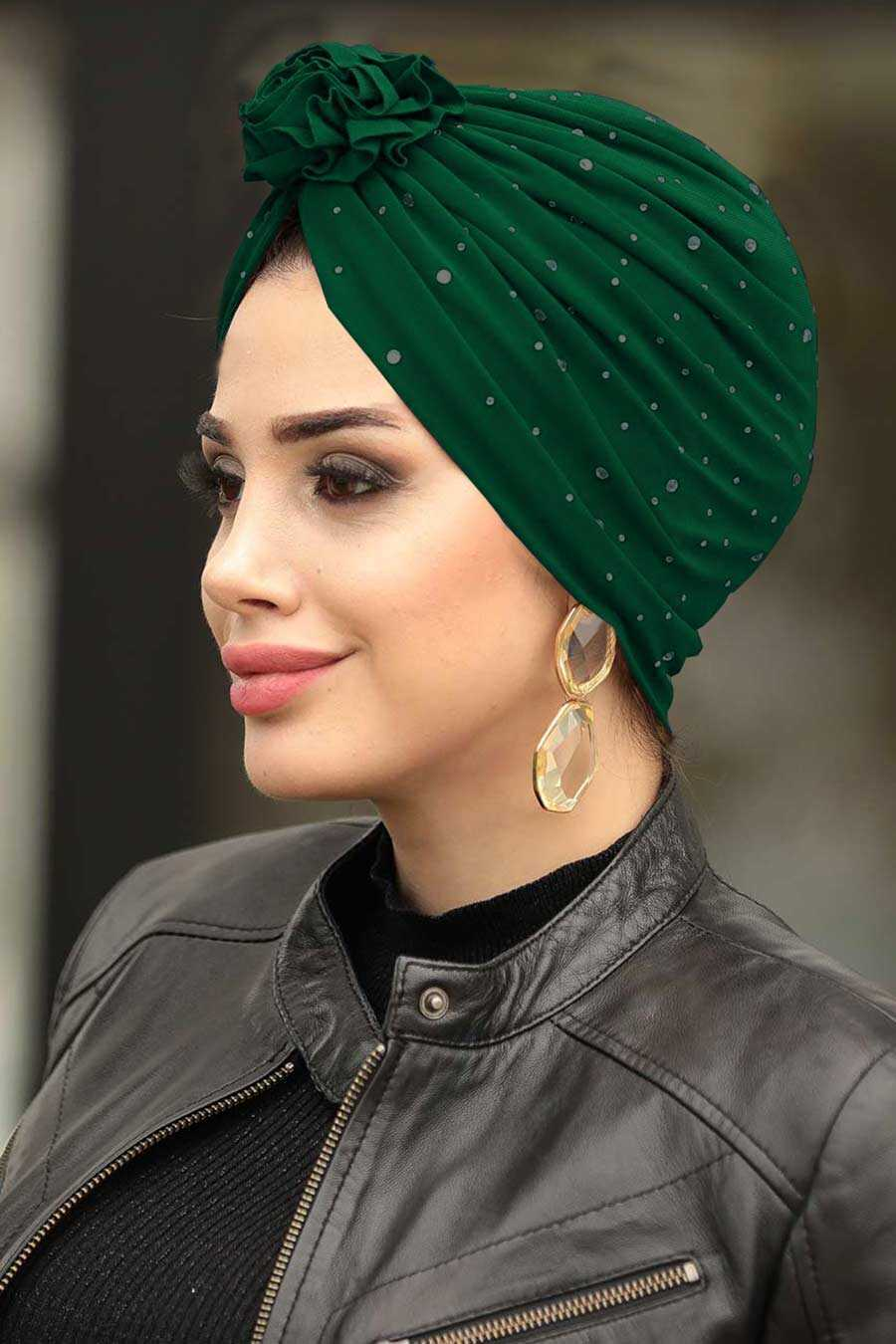 Green Hijab Cap Shawl 7527Y