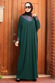 Green Hijab Dress 10560Y - Thumbnail