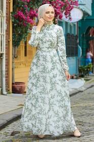 Green Hijab Dress 279012Y - Thumbnail
