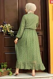Green Hijab Dress 4339Y - Thumbnail