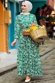 Green Hijab Dress 5192Y - Thumbnail
