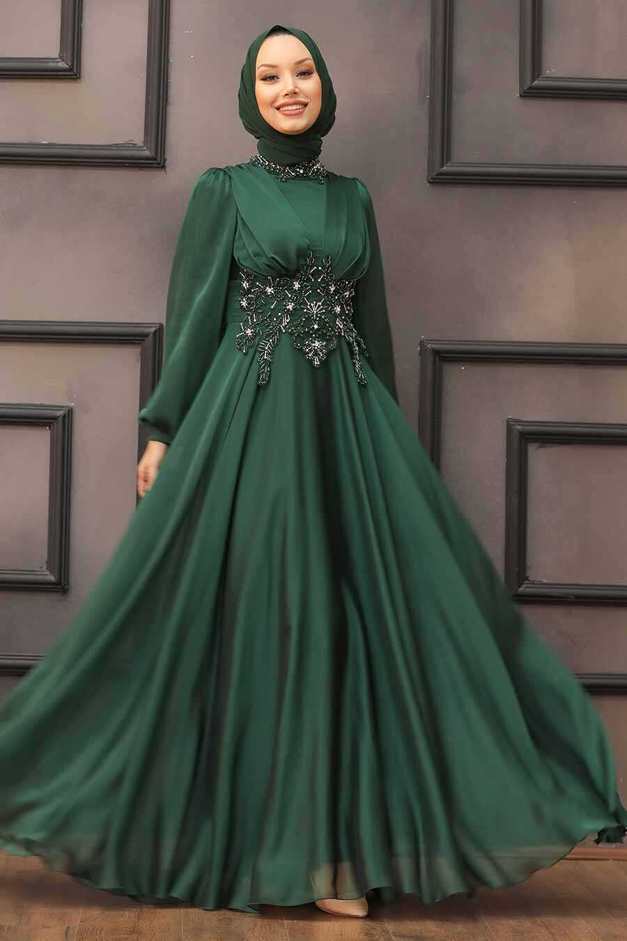 Green Hijab Evening Dress 22150Y
