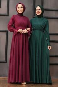 Green Hijab Evening Dress 22202Y - Thumbnail