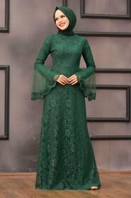 Green Hijab Evening Dress 2567Y - Thumbnail