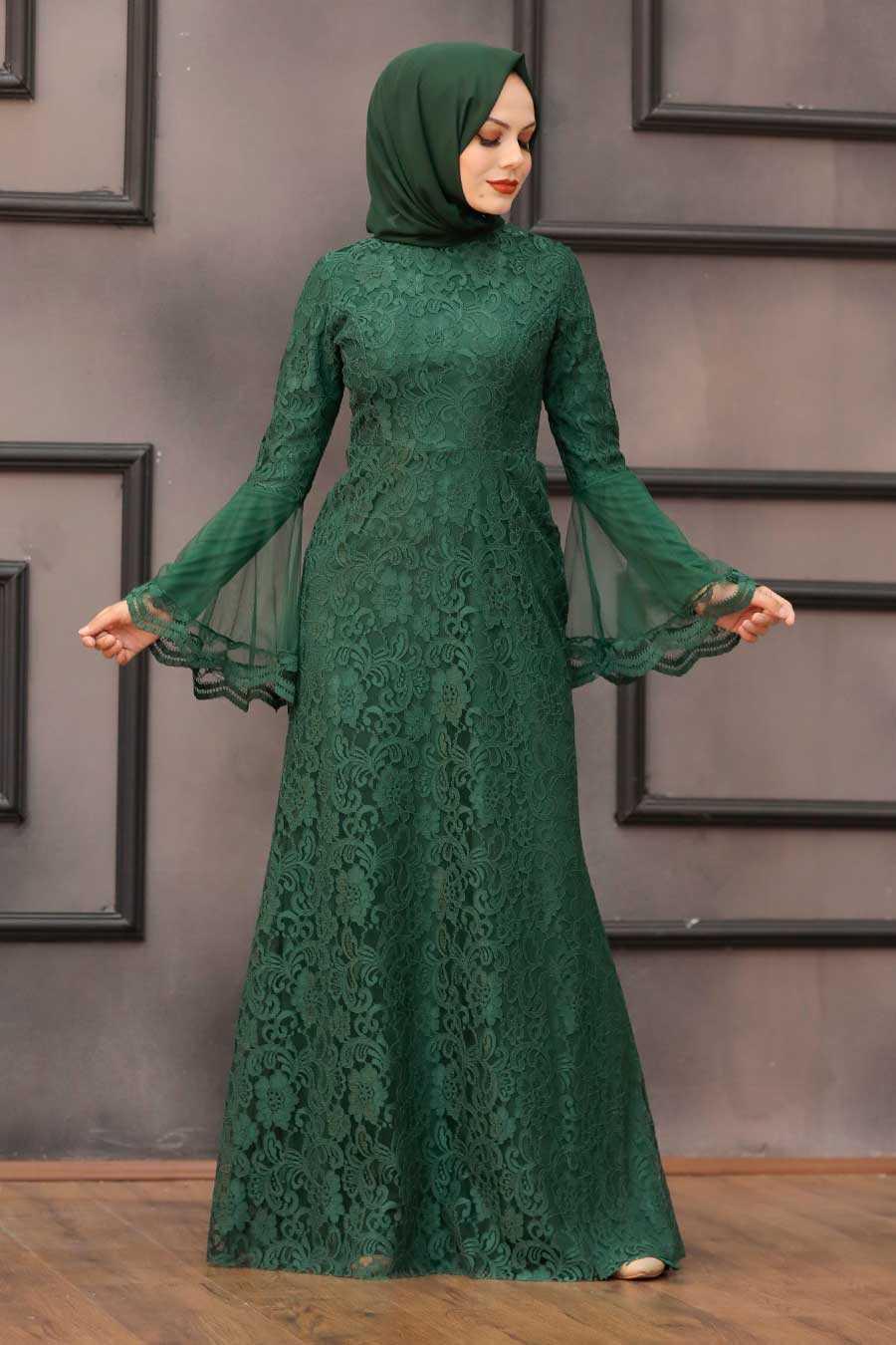 Green Hijab Evening Dress 2567Y