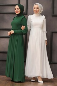 Green Hijab Evening Dress 40720Y - Thumbnail