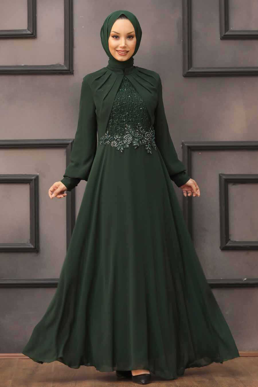 Green Hijab Evening Dress 52785Y