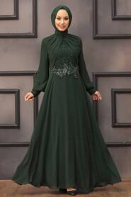 Green Hijab Evening Dress 52785Y - Thumbnail