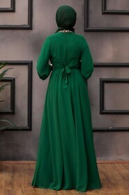 Green Hijab Evening Dress 5339Y - Thumbnail