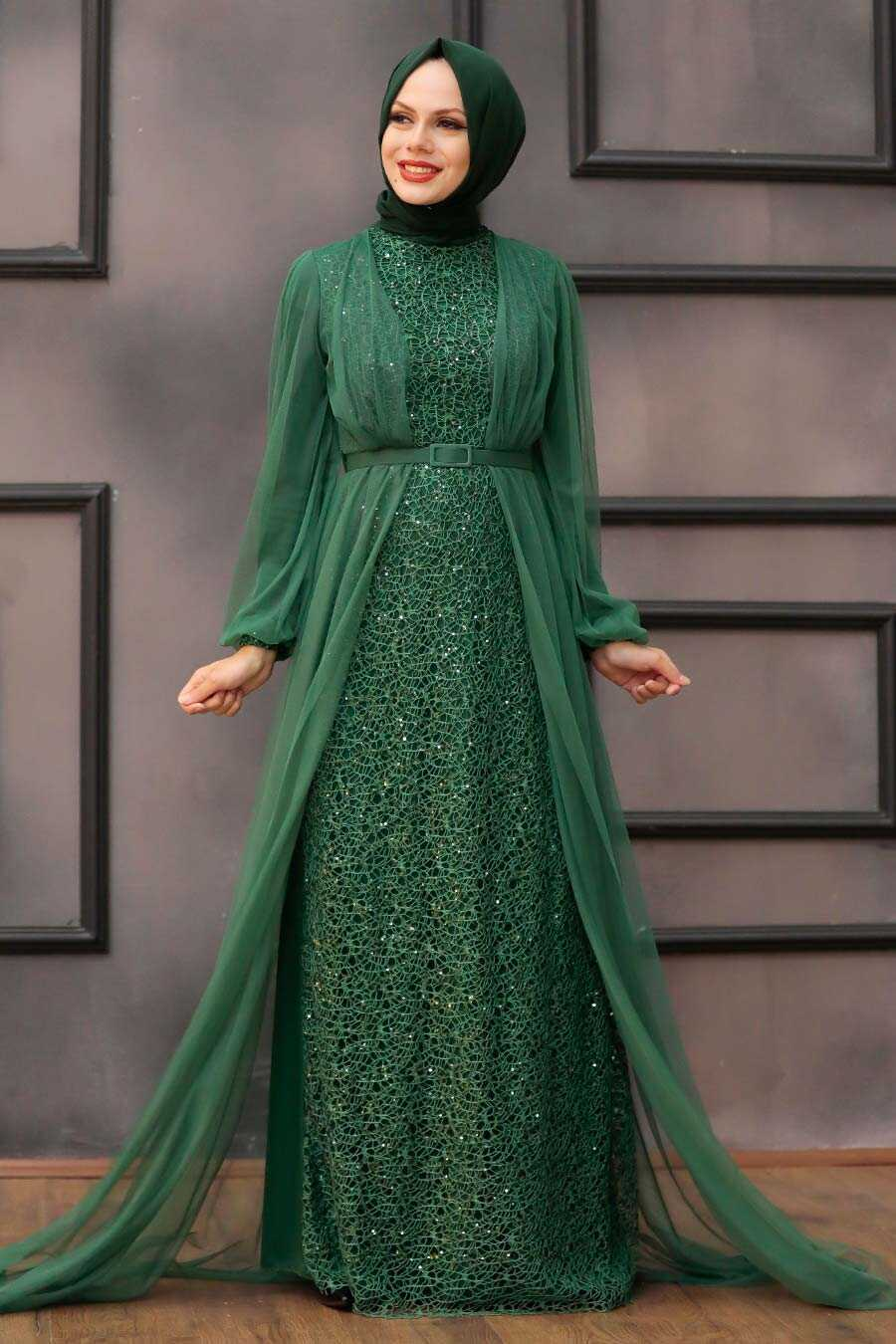 Green Hijab Evening Dress 5383Y