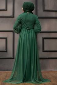 Green Hijab Evening Dress 5383Y - Thumbnail