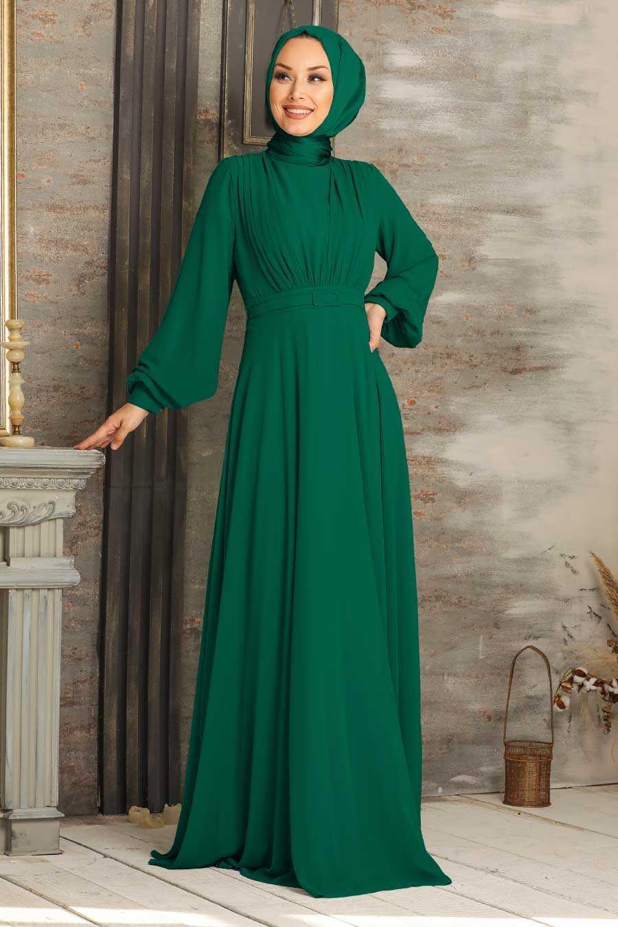 Green Hijab Evening Dress 5422Y