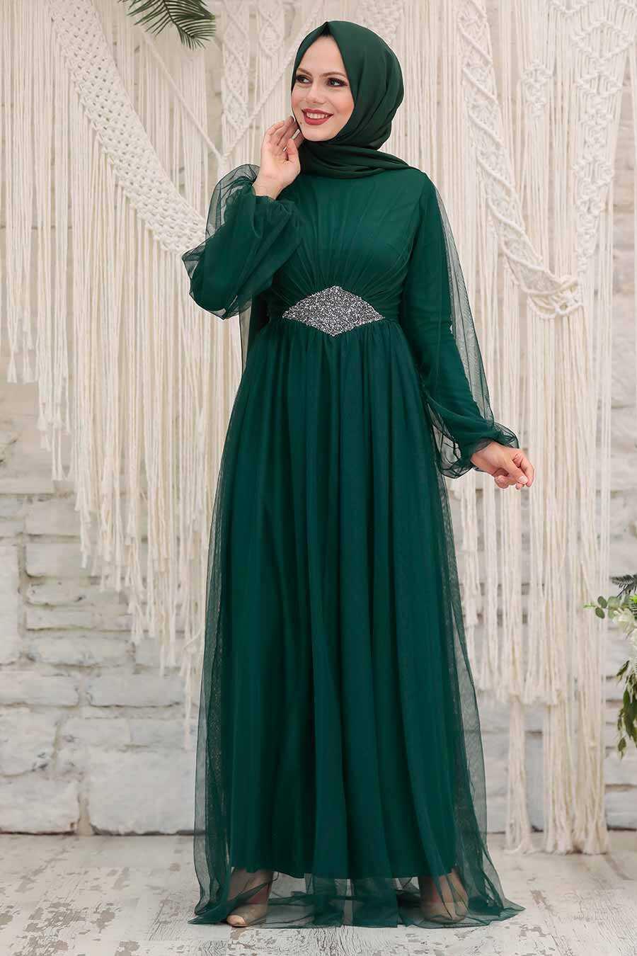 Green Hijab Evening Dress 54230Y