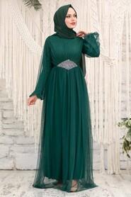 Green Hijab Evening Dress 54230Y - Thumbnail