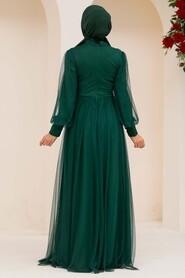Green Hijab Evening Dress 5478Y - Thumbnail