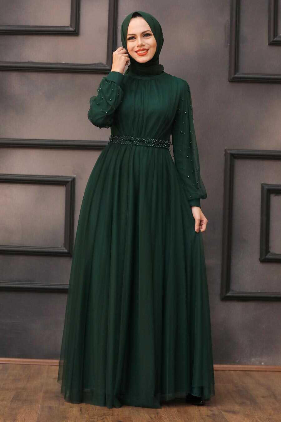 Green Hijab Evening Dress 5514Y