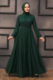 Green Hijab Evening Dress 5514Y - Thumbnail